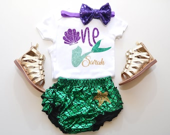 Little Mermaid first birthday outfit, under the sea outfit, mermaid ruffle bloomer, under the sea party theme. little mermaid party.
