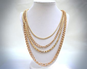 Gold Chain Necklace, Gold Rope Chain, Multi-chain Necklace, Vintage Necklace, 1970's Necklace, Multi-Strand Necklace, Gold Chain