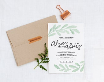 Printable Olive Branch Invitation - 30th birthday - surprise party