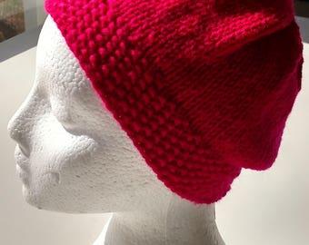 Fuschia Delight Knitted Hat