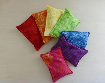 Rainbow colored bean bags