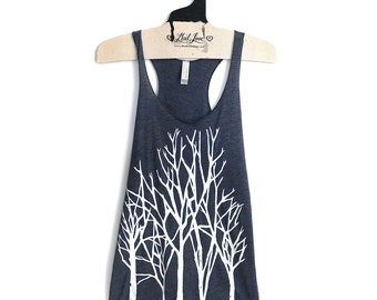 SALE Small- Navy Racerback Tank with Branch Trees Screen Print