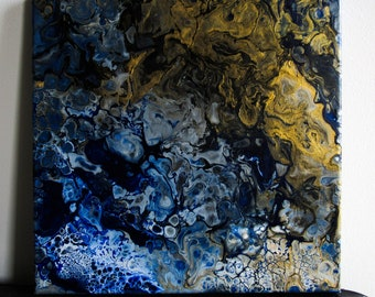 The Golden Matter - Abstract Acrylic Fine Art Painting with Metallic Gold composition on Stretched Canvas