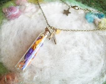 Real Flower Necklace, Flower Petal Terrarium Vial Necklace, Secret Garden