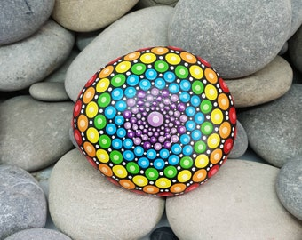 Chakra Rainbow Stone - Painted Rock - Rock Art - Hand-Painted Meditation Mandala Rock - Home Decor - Mandala Art - Boho - Paint Rock