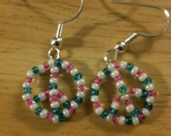 Peace Earrings - Peace Symbol Earrings - Beaded Earrings - Beaded Peace Earrings - Custom Color Earrings - Custom Beaded Peace Earrings