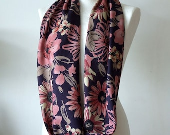 Large flowers infinity circle scarf, linen with silk floral loop, dusty pinks and mauve on navy blue scarf, Mother's Day gift under 25