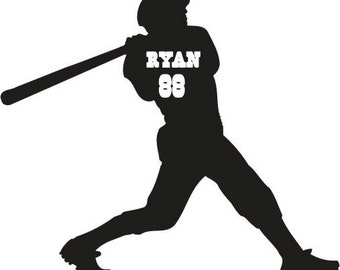 Personalized baseball player vinyl car decal