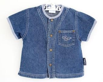 Vintage Baby B'Gosh denim shirt jacket with gingham trim, age 9-12 months