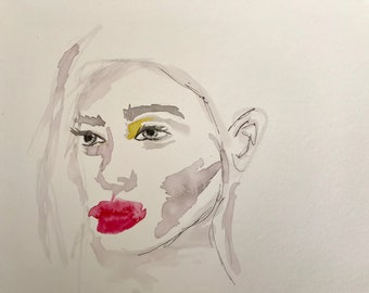Wishful Thoughts - Original Watercolor Female Portrait Woman Painting OOAK