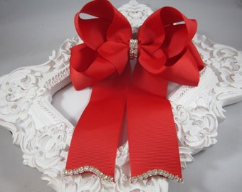 """NEW red OTT 5"""" bling bow with tails"""