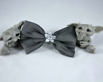 Shades of Grey Hair Bow with Silk Pearled Flower Centerpiece