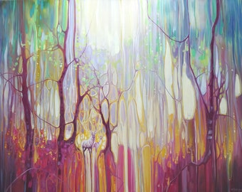 LARGE ORIGINAL Oil Painting - White Deer Realm - large colourful abstract forest landscape with white deer