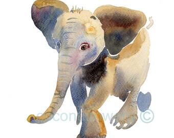 Baby Elephant 2, Elephant Art Elephant Print Baby Elephant Watercolor Elephant Decor Elephant Wall Art