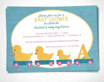 Duck Toys Baby Shower or Event Inivtation - Teal - DIY Printable
