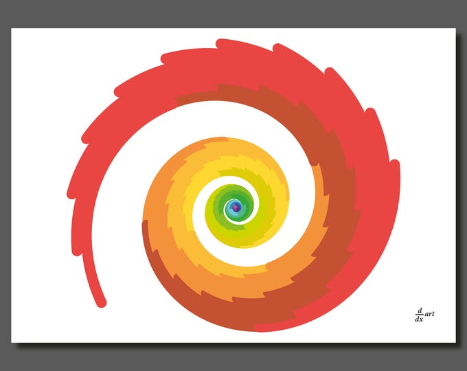 Firebird spiral [mathematical abstract art print, unframed] A4/A3 sizes