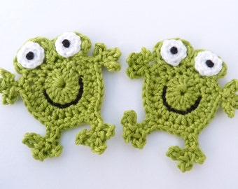 Crochet. Crochet applique, crochet frogs, 2 applique frogs, cardmaking, scrapbooking, appliques, handmade, sew on patches. embellishments