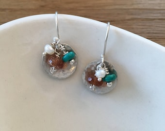 Pearl Turquoise & Hessonite Silver Hammered Disk Earrings