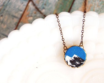 twin peaks mountain wooden cabochon necklace - brass chain