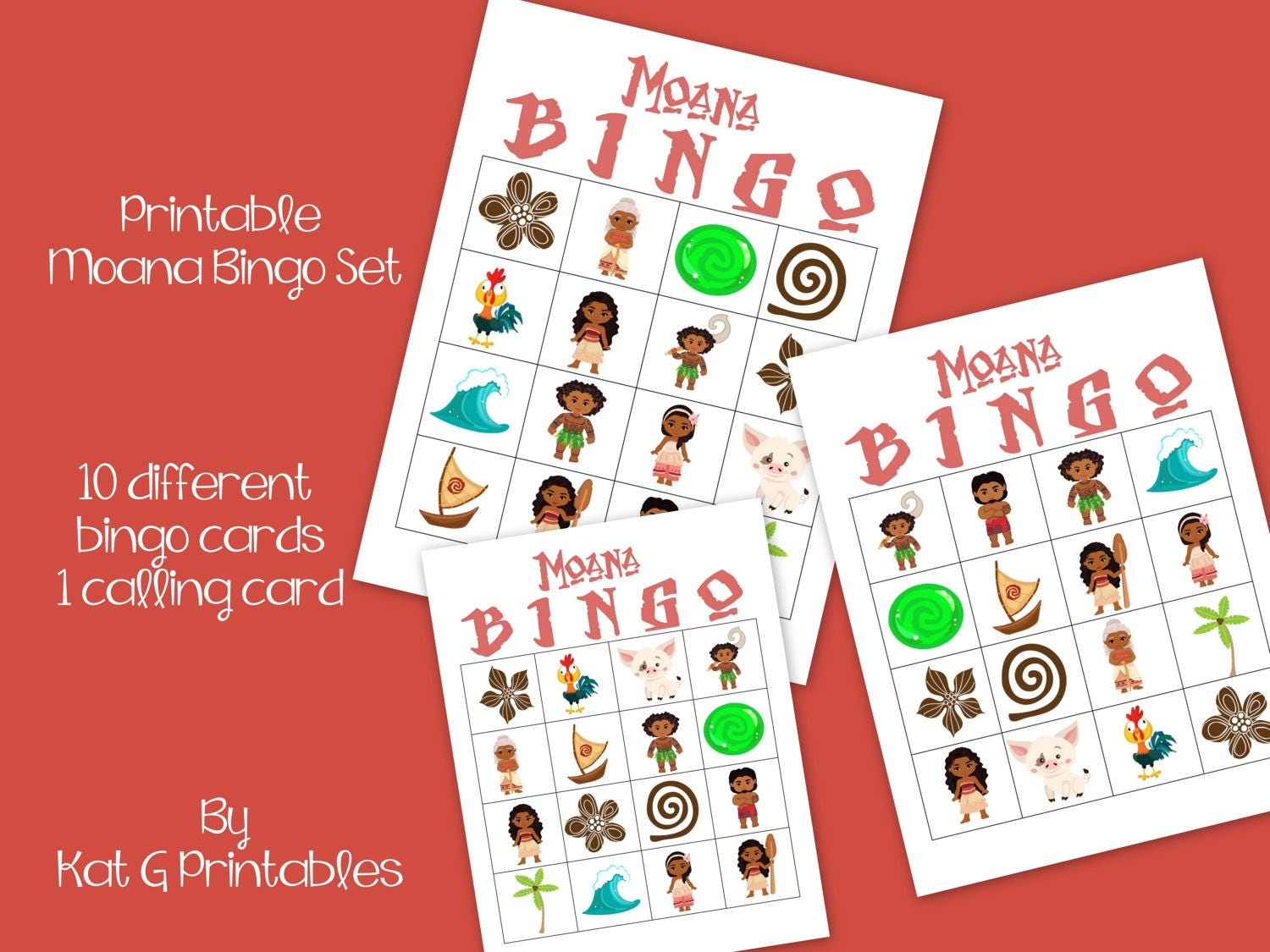 Moana Bingo Game Printable Instant download Moana Birthday