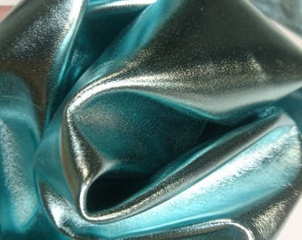 Mermaid blue metalic Italian leather hide. Apx 0.4-0.6 m2, 0.7mm thick