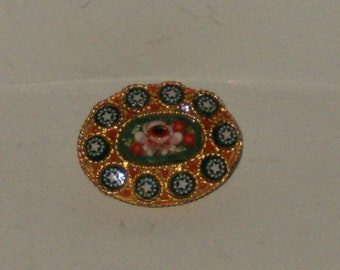 Vintage Gold Tone Floral Design Micro Mosaic Oval Brooch/Pin