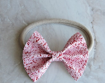 Xoxo red and pink glitter bow