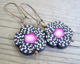 Polymer Clay Flower Earrings Black White Pink