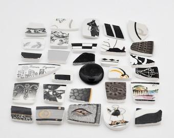Broken China Mosaic Tiles - Shades of Black - Assortment - Cabochon Collection - Set of 30