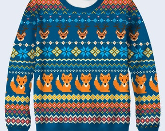 Foxes Womens Sweater, Funny Ladies Sweater, Cute Sweatshirt, Jumper for Women, Animals Print Sweat Shirt, Funny Sweater