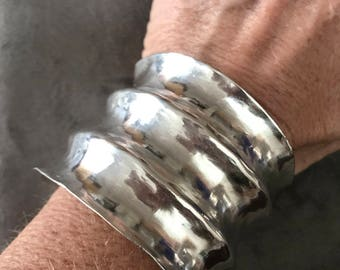 Ridged silver cuff