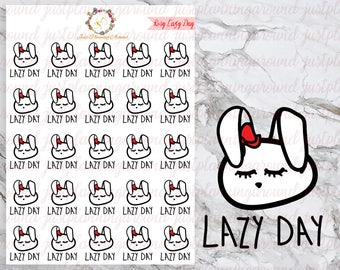 Lazy Day, Rosy the Bunny Stickers, Planner Stickers, Hand Drawn Stickers