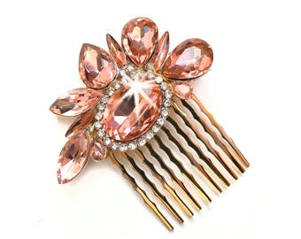 Comb - Blush Pink Crystal Hair Piece in Rose Gold - Vintage Style Brooch - Pale Pink Peach Bridal Comb - Wedding Hairpiece