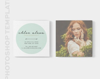 Square Business Card Template - Photoshop Template - Square Moo Template - 3x3 Business Card - Square Card - Instant Download - Digital File