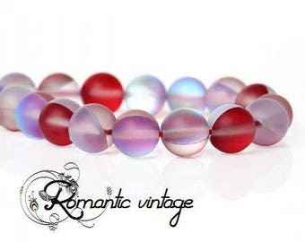 Frosted Opal: 20 natural pearls, matte frosted 6 mm