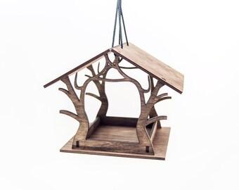 Hanging bird feeder - Wooden bird feeder - Garden decoration - Brown bird feeder - Laser cut bird feeder - Housewarming gift