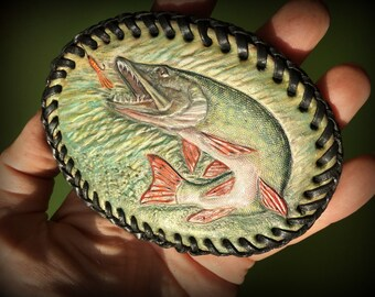 Hand tooled leather pike belt buckle - Custom made leather belt buckle - Artisan accessories