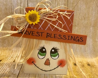 "Harvest Blessings  Scare crow Interchangeable Character for Wood Home Letters - Interchangeable Sign - HOME Sign- Interchangeable ""O"
