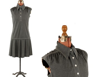 Vintage 1970's Dark Grey Sleeveless Mod Shift Pleated Drop Waist Scooter Dress S M