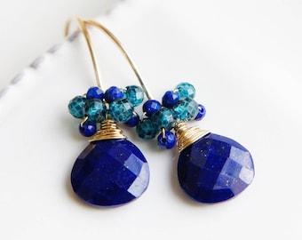 Lapis Lazuli Dangle Earrings, Blue Gemstone Drop Earrings, Cluster Earrings, Heart Drop Dangle Earrings
