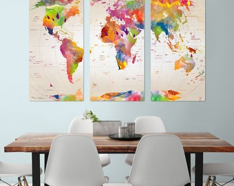 Watercolor Map Of The World Triptych Metal Wall Art