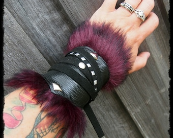 Black and Plum Arm Bracer Cuff - Ready to Ship - Viking Medieval Gothic Post Apocalyptic Larp Cosplay