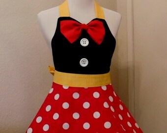 "RED /WHITE Polka Dot  Black Bodice Yellow waistband ""Minnie Mouse"" Inspired Apron"