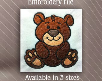 Baby Bear Machine Embroidery design file pattern filled version