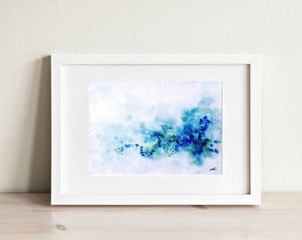 Blue and Green Watercolor Print, Abstract Art, Blue Watercolor, Art Print, Wall Art,Abstract Art, Beach, Ocean, Home Decor, Wall Decor.