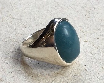 Sterling silver ring, milky aquamarine ring, statement ring, cocktail ring, stone ring, modern ring, casual ring - A spectacular now R2352