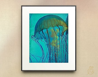 Jellyfish Art Print // Teal Blue Ocean Wildlife // Sea Life Home Decor // 16x20 20x24
