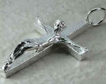 Sterling Silver Crucifix. Heavy solid Silver Crucifix. Christening gift. Anniversary,Graduation,Birthday present idea.Perfect Christmas Gift