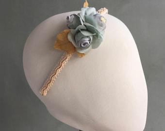 Silk flower headband, rose headband, bridesmaid headband, bridal headband, party headband, floral headband, blue flower headband