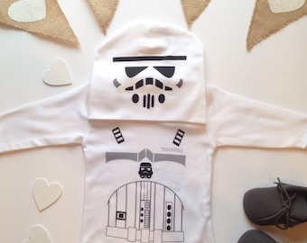 Storm Trooper baby Outfit  Baby Favourite - Funny  Baby Clothing - Humorous Onepiece  & Matching Hat